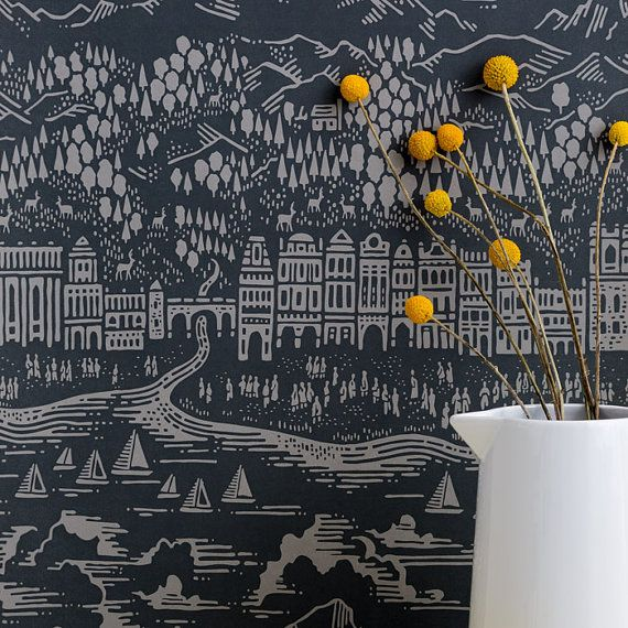 Hey, I found this really awesome Etsy listing at https://www.etsy.com/listing/191872464/province-wallpaper-in-graphite-10m-x