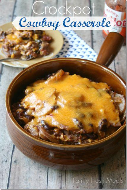 Cheesy Crockpot Cowboy Casserole
