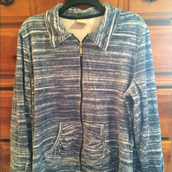 Athletic jacket Super soft blue and white zip up jacket. Great for layering. Worn once.  Excellent condition. Tops