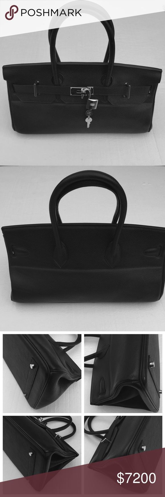 Authentic HERMES Birkin jpg 42cm Satchel Handbag This is an authentic Hermes Birkin jpg 42cm handbag. It's black Clemence (pebble) leather with palladium hardware. This bag is in excellent used condition with very little signs of use (please see photos). Dust bag, lock with (two) keys included. All photos are of actual bag. If you have concerns or questions regarding authenticity please use the concierge service with Poshmark for authenticity guaranteed. ❤️ Hermes Bags Satchels