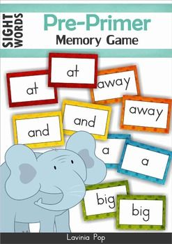 Sight Words - Memory Game (Pre-Primer Words) {FREE}