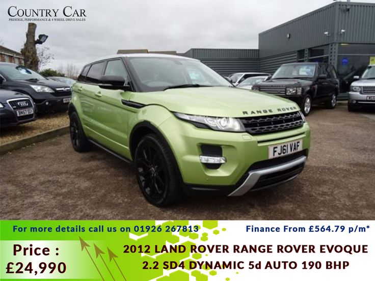 £24,990 | 2012 61 LAND ROVER RANGE ROVER EVOQUE 2.2 SD4 DYNAMIC 5d AUTO 190 BHP. Finance From £564.79 p/m* Call Us: 01926 267813 / 07441 906677 #countrycar #landrover #rangerover #rangeroverevoque #rangerovergoals #landroverdiscovery #cars #LandroverFreelander #dealership #deals #porsche #carsales #amazingusedcars