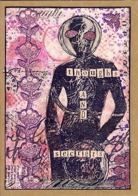 Also der Hintergrund ist ein Gelli Print mit Acrylfarben und Sprühfarben, ein paar Stempelabdrücke in lila Archival und ein paar Streifen Tissue Tape.  Motiv (Dina Wakley) mit schwarzem Archival abgestempelt, mit schwarzem Filzer und Gelstift nachbearbeitet.  Teile von einer Glitzerborte in pink aufgeklebt, mit Gelstift und Liquid Pearls konturiert.  Schließlich noch Klebebuchstaben aufgebracht.