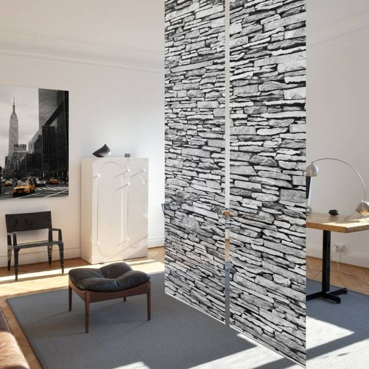 Beautiful stone wall illusion  by Bilderwelten.de. This actually is a curtain, who would have thought? #crazycurtains #homedecor #homify