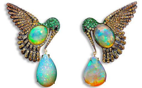 Lydia Courteille Mexican Fire Opal Hummingbird Colibri Earrings