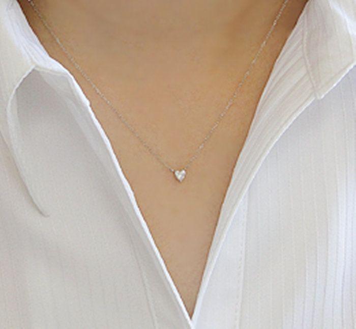 pt9000.2ct大粒ハートカットダイヤモンドネックレス