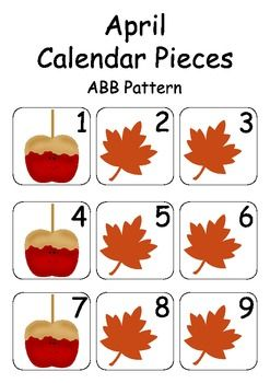 April / Autumn / Fall Calendar Pieces for Numeracy Wall and Calendar Math Bulletin Board