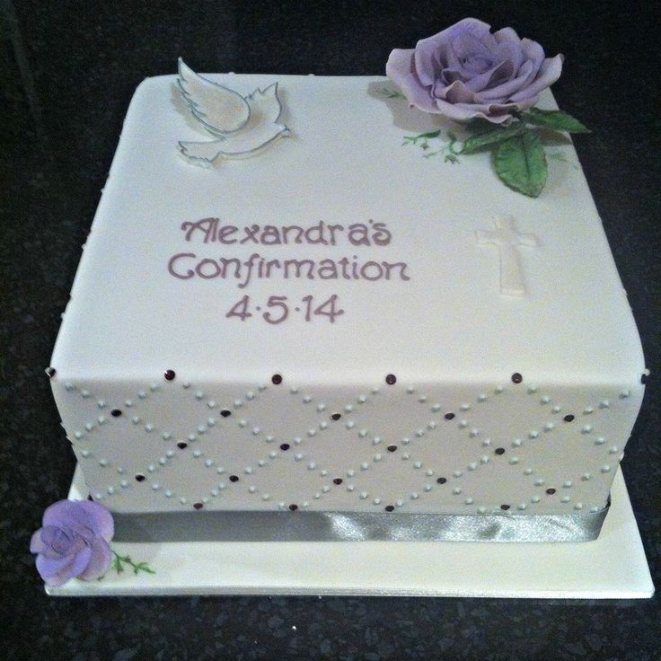 Confirmation Cakes Dove Square confirmation cake with ...