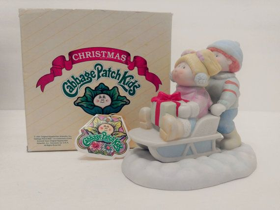 "Cabbage Patch Kids ""Christmas 1984 Sleigh Ride"" Fine Porcelain Figurine-Statue ~ Xavier Roberts Winter Holiday Decor ~ Collectible Vintage"