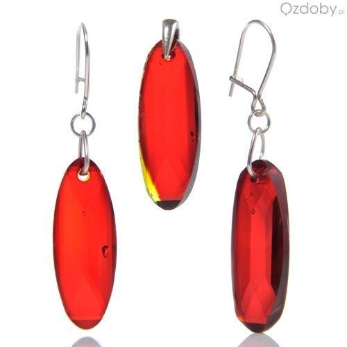 Przepiękny czerwony komplet: wisiorek + kolczyki