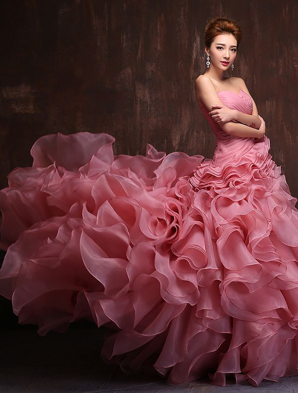 Verbazingwekkende Sweetheart Mouwloze Trapsgewijze Ruche Organza GalaJurk [331507003] - Veaul.com