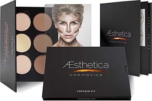 awesome Aesthetica Cosmetics Contour and Highlighting Powder Foundation Palette / Contouring Makeup Kit; Easy-to-Follow, Step-by-Step Instructions Included
