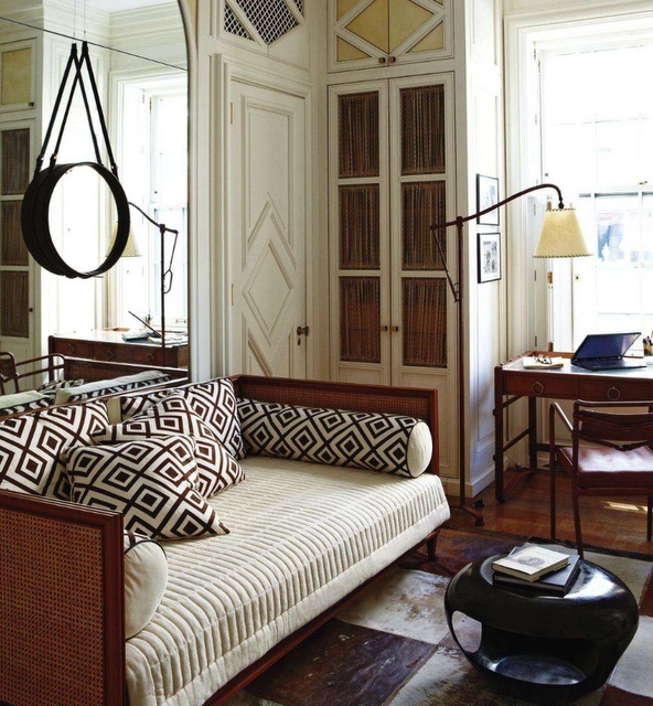 This Guest Room Office Is Very Chic Day Bed Bedding The Architecture Desk A Bedroom An