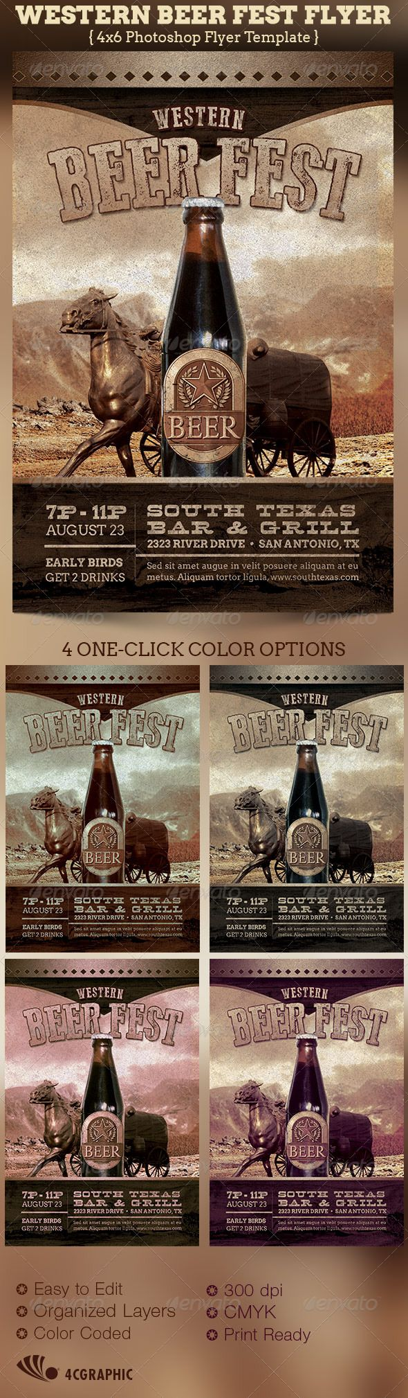 The Western Beer Fest Flyer Template - $6.00