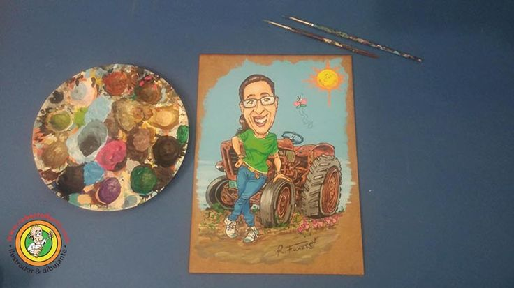 New commissioned order #cartoon of a #girl posing with a #rusted old #tractor. www.robertoflores.com