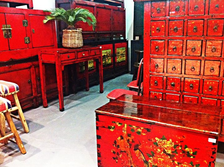 Beautiful red tones. These cabinets are all unique pieces looking for their forever home. Please visit our stores to see our full range.