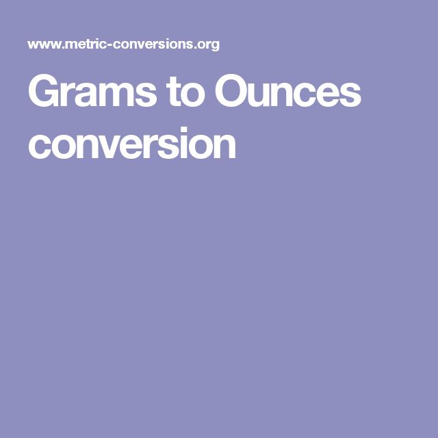 Grams to Ounces conversion