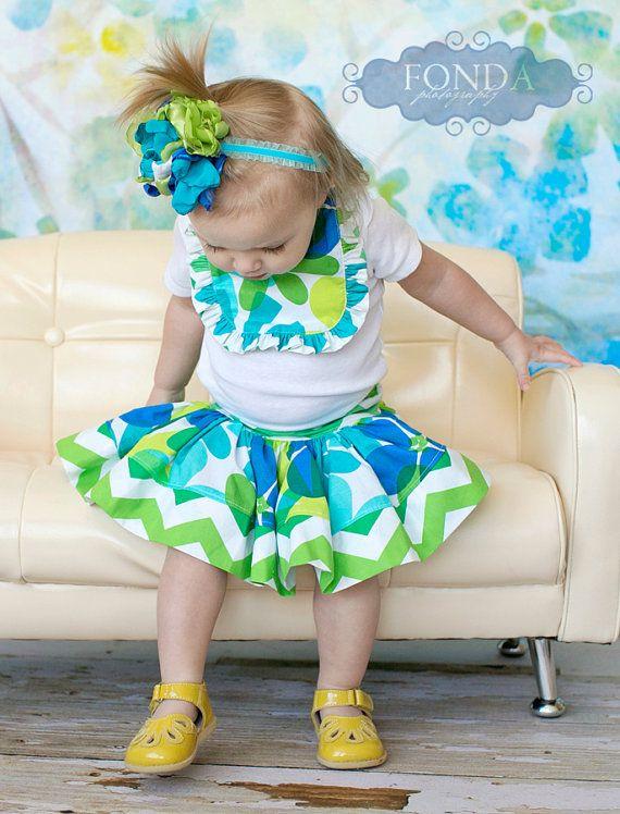 Chevron flower twirl skirt