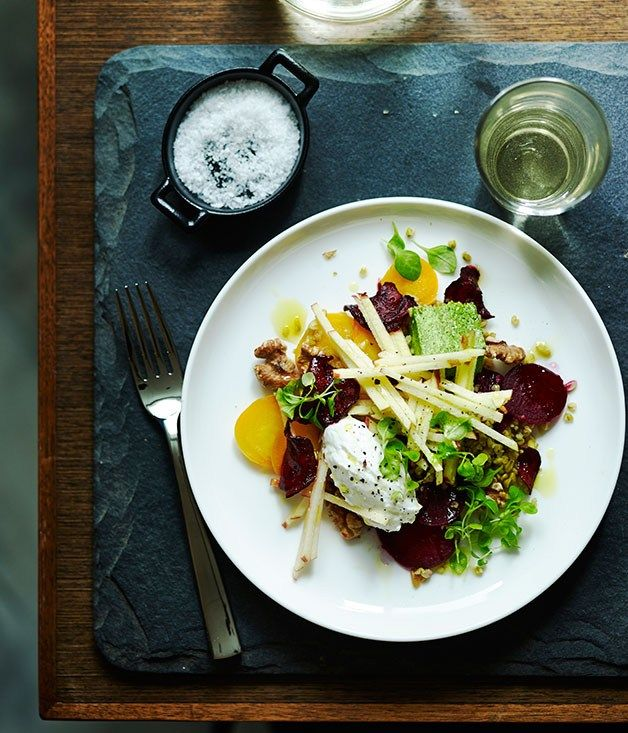 Herb panna cotta with beetroot, freekeh and walnut dressing recipe | Ten Minutes by Tractor - Gourmet Traveller