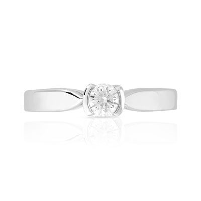 Bague solitaire or 750 blanc diamant 20/100e de carat - vue V3