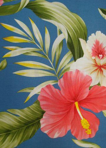 80wena - Barkcloth Hawaii Fabrics - Vintage Style Hawaiian Fabric Tropical Botanical Vintage Hawaiian Fabric Hawaiian botanical textile with...