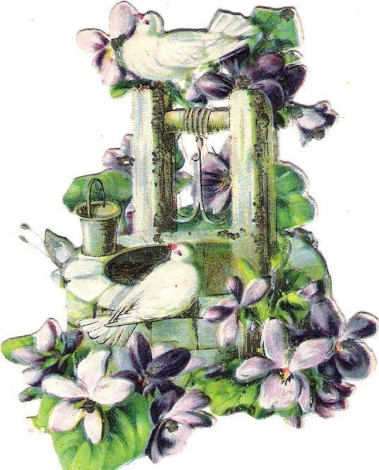 Oblaten Glanzbild scrap die cut chromo Taube dove pigeon Brunnen Veilchen violet