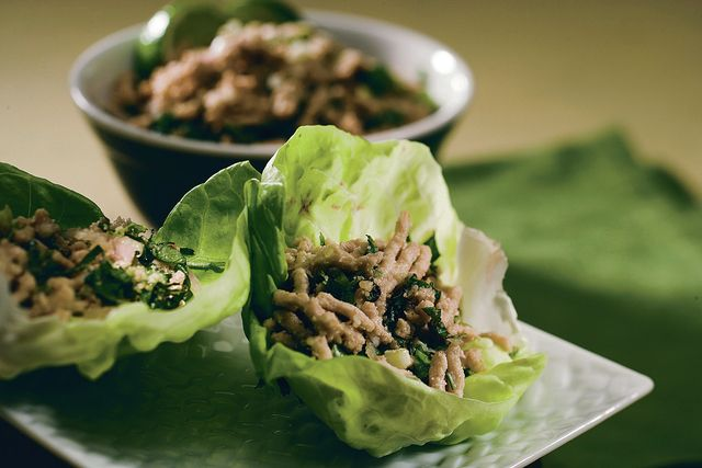 Tuck Thai-spiced ground chicken into lettuce wraps, and pop open a bottle of wine. (Bob Fila/Chicago Tribune/TNS)
