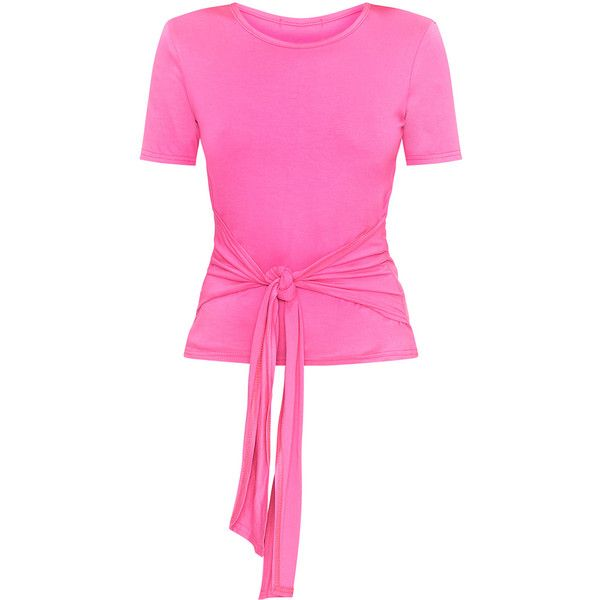 Hot Pink Tie Front T-Shirt (€16) ❤ liked on Polyvore featuring tops, t-shirts, pink tee, tie front t shirt, tie front top, pink top and pink t shirt