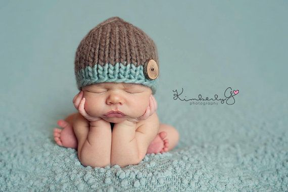Love the beanie...but oh my, look at that babe!  Hand Knit Newborn Little Boy Button Beanie by twocraftymamas, $22.00