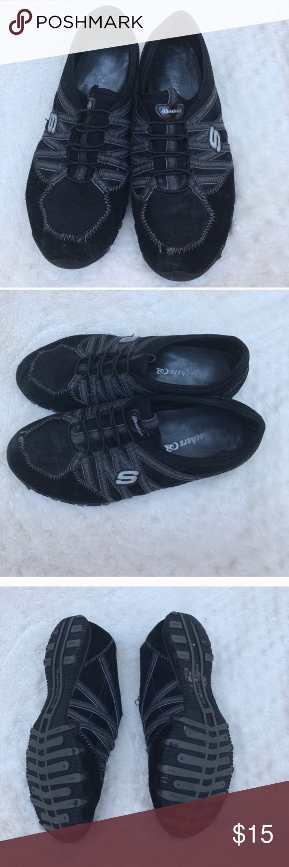 Size 8 black Skechers slip on shoes Size 8 black Skechers shoes Skechers Shoes Sneakers