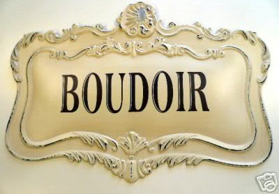bou·doir  (boo'dwär, -dwôr)  n.  A woman's private sitting room, dressing room, or bedroom.  [French, from Old French bouder, to sulk.]