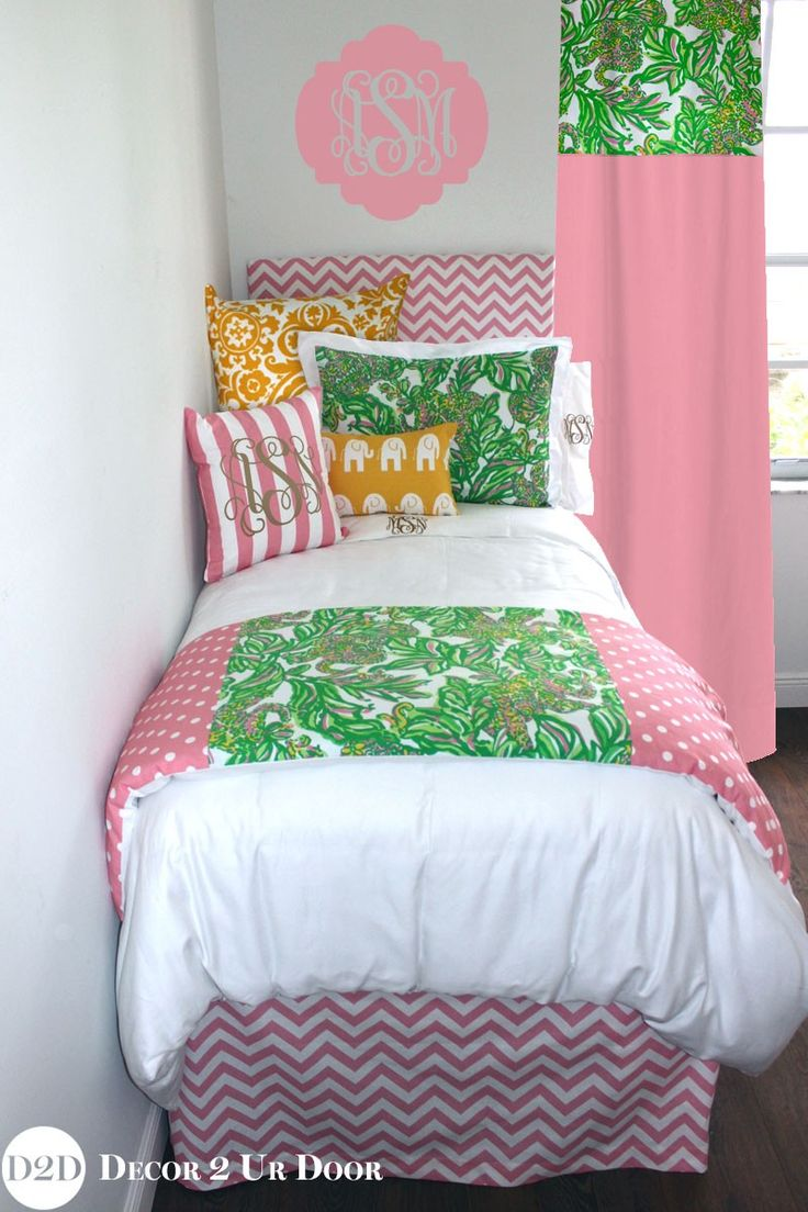 Bed sheets for teenagers - Lilly Pink Green Yellow Monkeys Designer Teen Teen Bedding