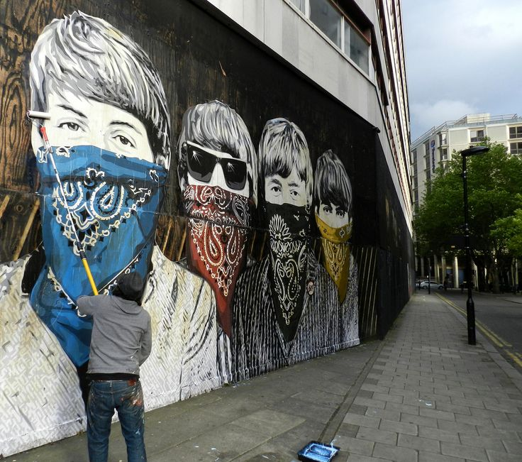 "Street Art ""The Beatles"" by Mr. Brainwash, London, England."