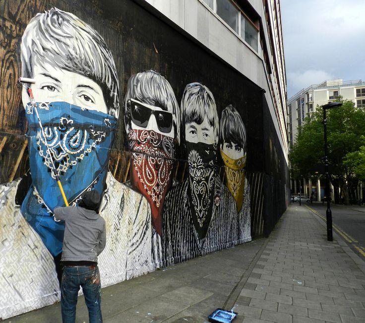 "Street Art ""The Beatles"" by Mr. Brainwash, London, England."