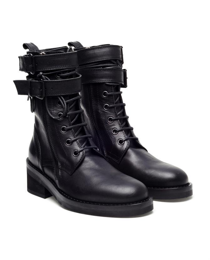 ANN DEMEULEMEESTER 'Vitello' leather military boots