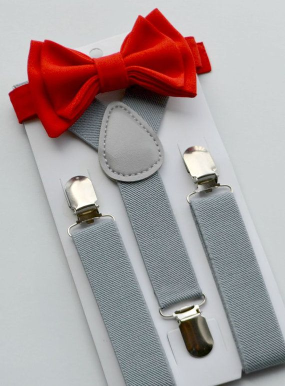 Bow Tie Suspenders Grey Suspenders & Red Bow Tie by armoniia