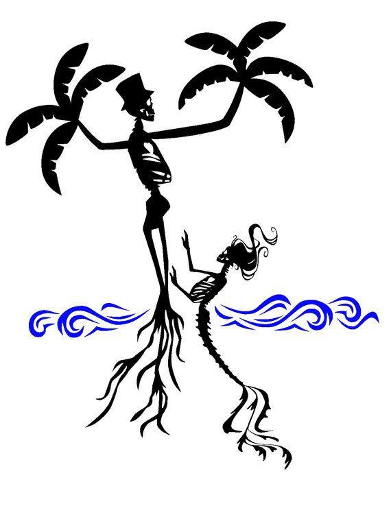Skull palm tree mermaid skeleton SVG Instant Download Cut by Niwid