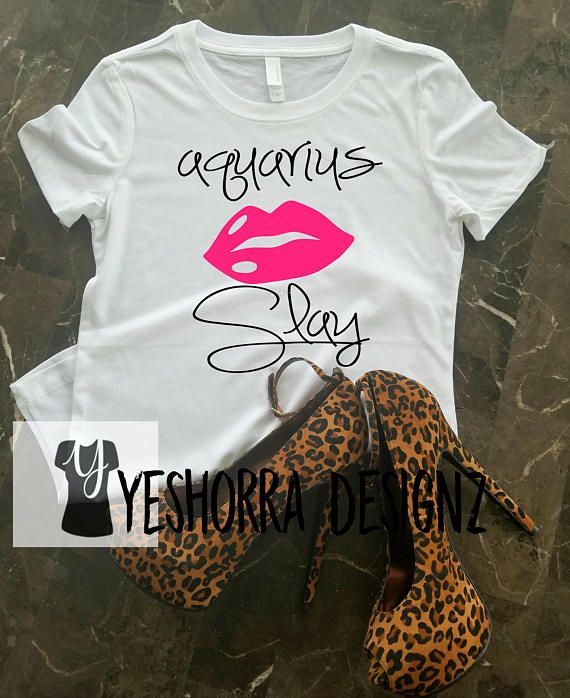 Its your birthday Aquarius! Celebrate & let the world know with this gorgeous Aquarius Slay Birthday t-shirt. This shirt is created with a combination on black, hot pink and feature a pair of sexy lips. THIS SHIRT IS AVAILABLE IN 3 STYLES, AND 2 COLORS (BLACK SHIRT WILL HAVE white