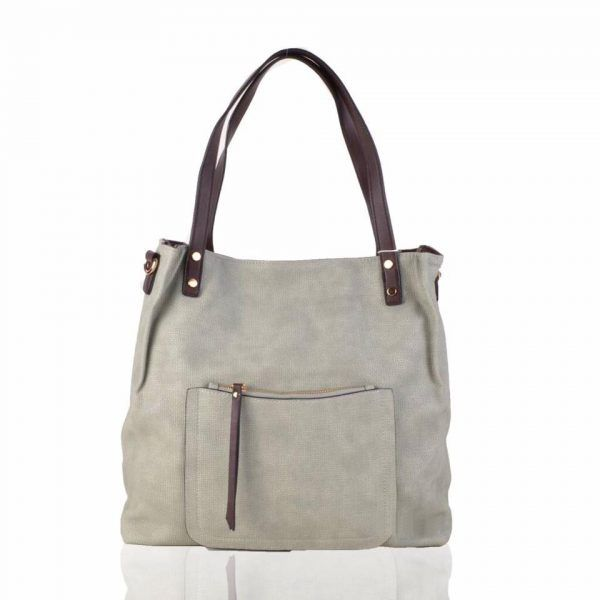 Shopper Woven Grijs grijze grote tas geweven tas kunstleder voorvakje bruine handvat dames tassen online fashion