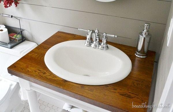 Diy butcher block vanity - Butcher block countertops in bathroom ...
