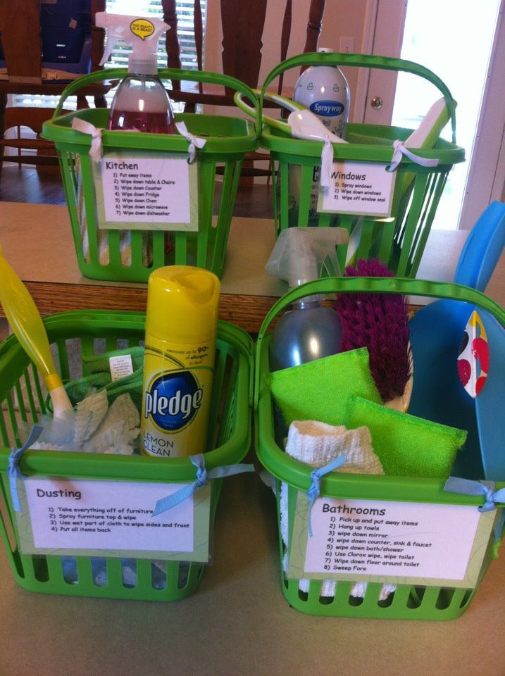 DIY Chore Baskets with Cleaning Descriptions for Saturday Jobs : I love how everything is together in baskets so there's no wasted time hunting down what you need!