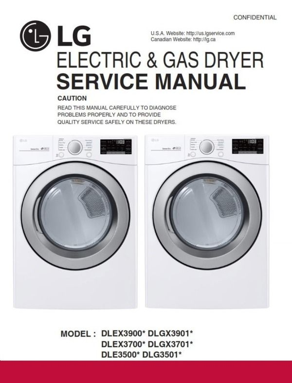 Lg Dle3500 Dle3500w Dlg3501w Dryer Service Manual And Repair Guide Repair Guide Manual Repair