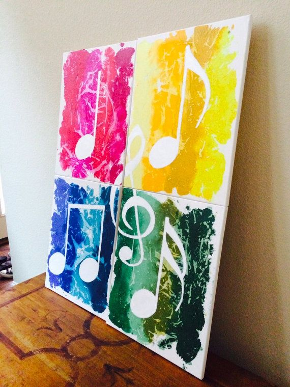 "Beautiful 4 Piece Music Notes Made From Melted by RockYourWalls, $350.00 Check it out on ETSY! Bright and colorful! These music notes are on 4 16x20 canvases. Together, it is 32x40. This piece was made out of shaved crayola crayons in multiple colors and oil paint. Perfect for the music loving home/office! Great for that ""POP"" of color! If you would like one made on bigger/smaller canvases or in different colors, let me know! **These canvases are stapled on the back, NOT the sides. **"