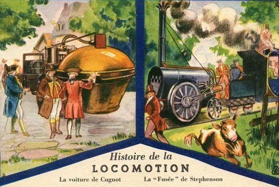 2 octobre 1804 : mort de Nicolas-Joseph Cugnot, père des véhicules à vapeur. Illustration : Histoire de la locomotion : le Fardier de Cugnot et la Fusée de Stephenson. Chromolithographie du XXe siècle