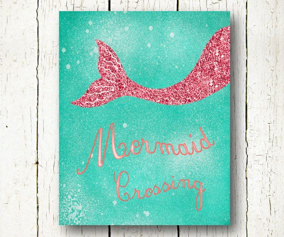 mermaid printable, turquoise and pink baby girl wall art, mermaid poster instant download, pink glitter girls room wall decor, ocean nursery