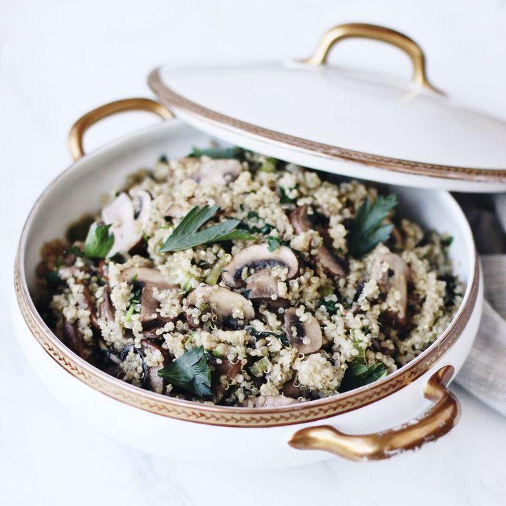 Mushroom Quinoa Pilaf (Gluten-Free & Vegan Option) - Fraiche Nutrition