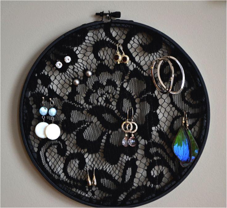 Black Lace Earring Holder DIY