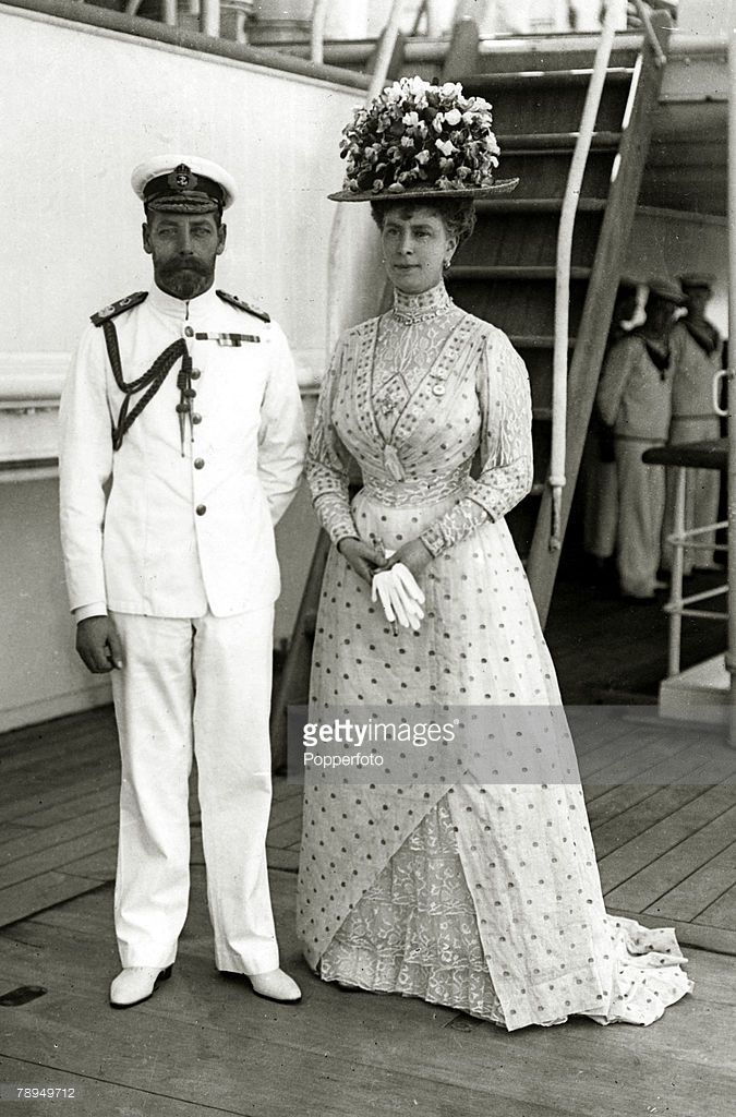 1911, HM,King George V and his Consort Queen Mary ~ spectacular feathered hat worn by Queen Mary in 1911(Photo by Popperfoto/Getty Images)