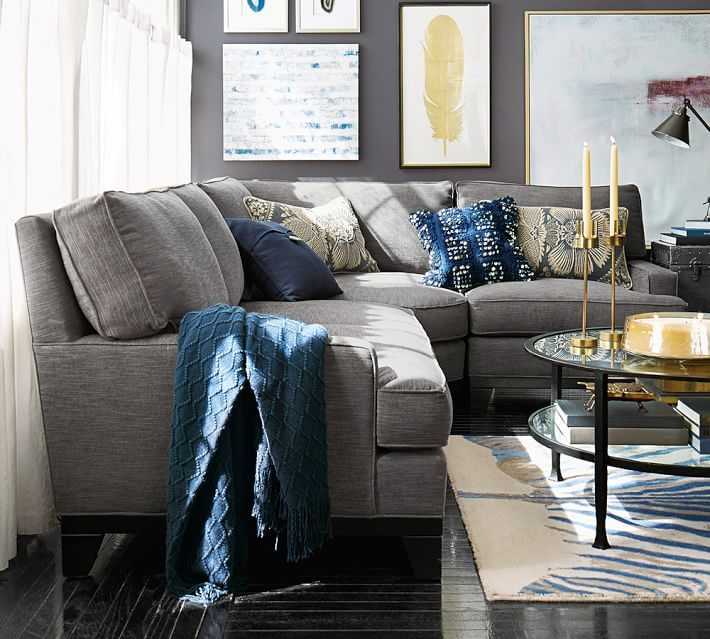 Seabury 3 Piece Sectional With Wedge Pottery Barn Living