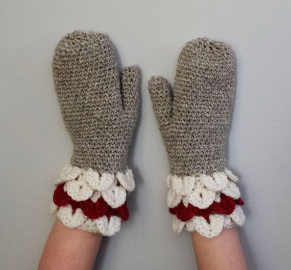 Crocodile Stitch Cuff Work Classic Mittens Crochet Pattern Women Wool Sock Monkey Warm Mitts Easy Worsted Briggs Little Scales Textured Cozy